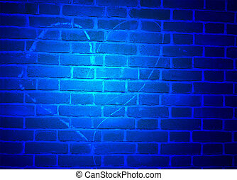 blue light over heart sign drawn by chalk on brick wall, exploration details