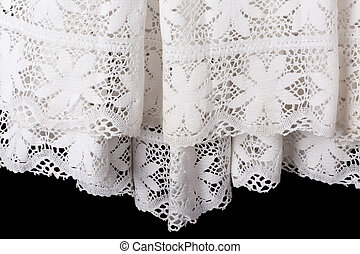 White lace priest surplice gown - Detail of the white lace...