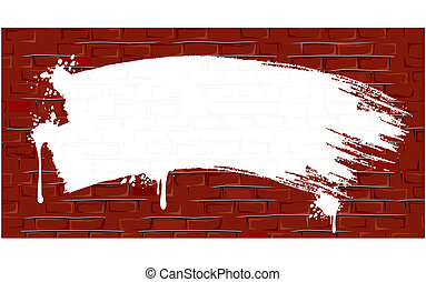 Brick Wall Background with Paint Strokes. Vector