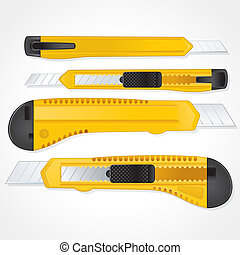 Office Paper Knifes Detailed Vector Image - Set Of Plastic...