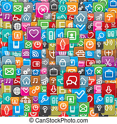 Pattern from a Different Apps Icons. Vector