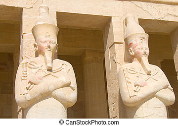 Statues of stone in Hatsetshups temple, Luxor Egypt