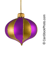 purple christmas tree ornament isolated on white background
