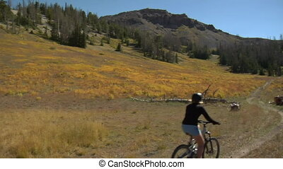 Mountain biking female on wildflower trail