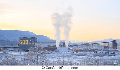 Mining factory - Iron ore Refinery Factory Plant in winter