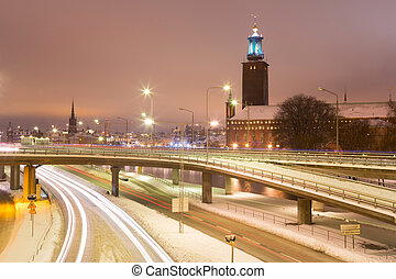 Stockholm Cityhall at night Sweden - Stockholm Cityhall at...