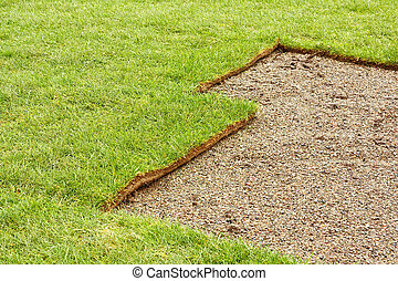 half layed turf - The perfect turf lawn in progress of being...