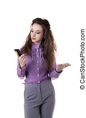 Businesswoman with a cellphone in her hands isolated on white
