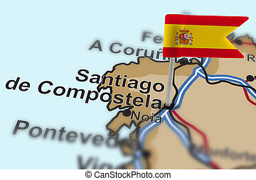 pin with flag of Spain in Santiago de Compostela with...
