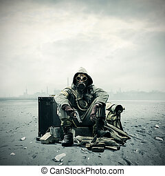 Environmental disaster Post apocalyptic survivor in gas mask...