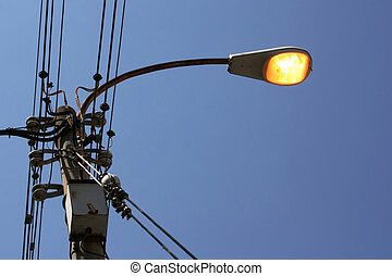 Sky, Light, Wires - High steel lamppost is working also all...