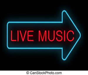 Live music concept - Illustration depicting a neon signage...