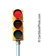 Isolated Red traffic signal light on white