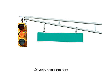 Isolated Yellow traffic signal light with sign on white