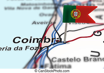 pin with flag of Portugal in Coimbra