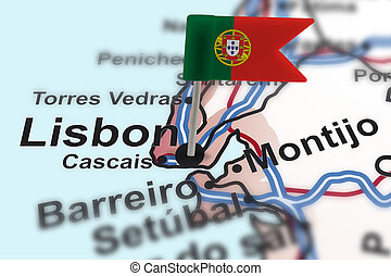 pin with flag of Portugal in Lisbon