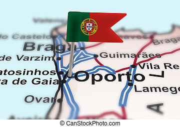pin with flag of Portugal in Oporto