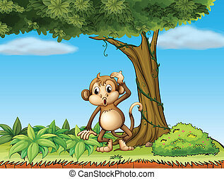 A monkey under a big tree - Illustration of a monkey under a...