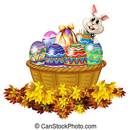 A basket full of Easter eggs and a bunny - Illustration of a...