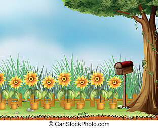 A letter box and flower pot - Illustration of a letter box...