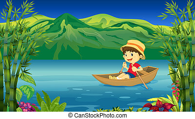 A smiling boy in a boat - Illustration of a smiling boy in a...