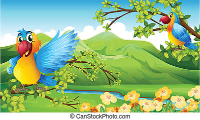 Birds and a mountain - Illustration of birds and a mountain...