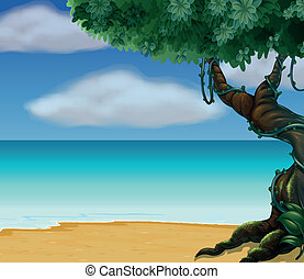 A tree and a beautiful beach - Illustration of a tree and a...