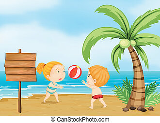Two children playing volleyball