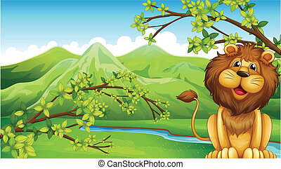 A lion and a mountain