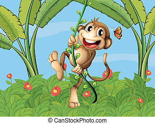 A hanging monkey - Illustration of a hanging monkey and a...