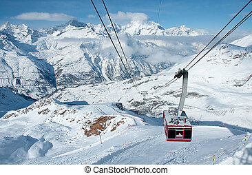 Cable car in the swiss Alps - Cable car from Gant to...