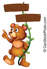 A bear and the empty signboard - Illustration of a bear and...