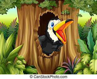 A bird in a tree hollow - Illustration of a bird in a tree...