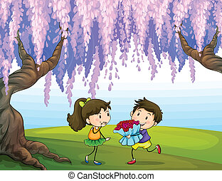 Lovers in the park - Illustration of lovers in the park