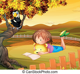A girl studying outside - Illustration of a girl studying...