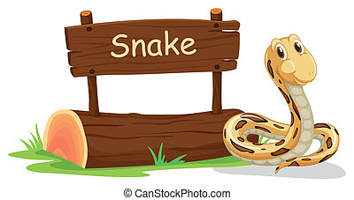 A snake beside a signboard - Illustration of a snake beside...