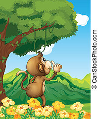 A monkey wondering in the forest - Illustration of a monkey...