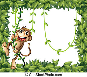 A monkey in a leafy frame - Illustration of a monkey in a...
