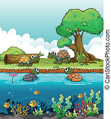 A river and a smiling turtles - Illustration of a river and...