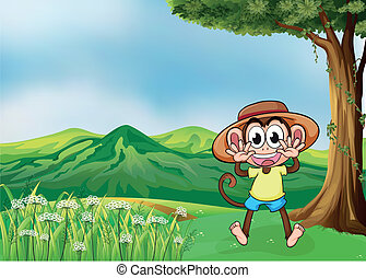A cheerful monkey in the hills
