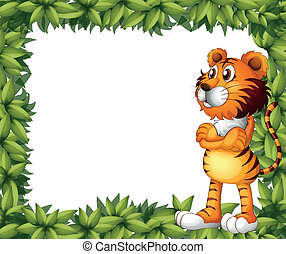 A smiling tiger and plant frame - Illustration of a smiling...