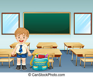 A student wearing a complete uniform - Illustration of a...