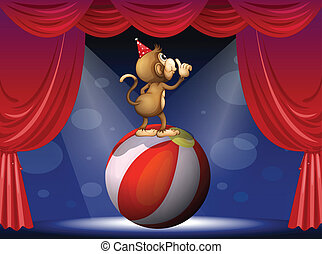 A monkey performing in the circus