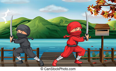 Two ninjas - Illustration of two ninjas in the bridge