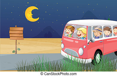 Children riding in a bus