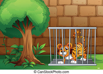 A tiger in a cage - Illustration of a tiger in a cage and...