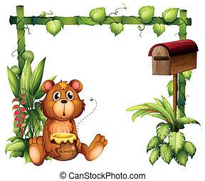 A bear near the mailbox - Illustration of a bear near the...