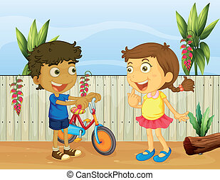 Two children talking - Illlustration of two children talking
