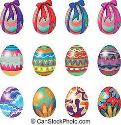 Easter eggs with designs and ribbons - Illustration of...