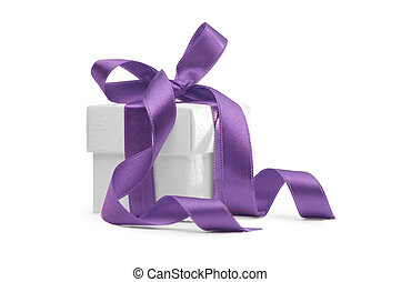 present box with purple ribbon isolated on white background